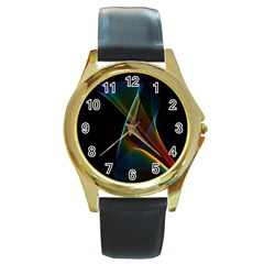 Abstract Rainbow Lily, Colorful Mystical Flower  Round Leather Watch (Gold Rim)