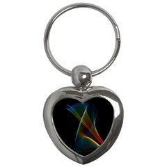 Abstract Rainbow Lily, Colorful Mystical Flower  Key Chain (Heart)