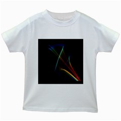 Abstract Rainbow Lily, Colorful Mystical Flower  Kids T Shirt (white)