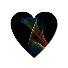 Abstract Rainbow Lily, Colorful Mystical Flower  Magnet (heart)