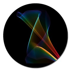 Abstract Rainbow Lily, Colorful Mystical Flower  Magnet 5  (Round)