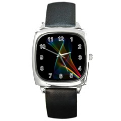 Abstract Rainbow Lily, Colorful Mystical Flower  Square Leather Watch