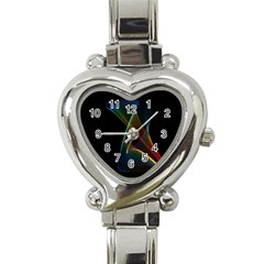 Abstract Rainbow Lily, Colorful Mystical Flower  Heart Italian Charm Watch