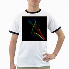 Abstract Rainbow Lily, Colorful Mystical Flower  Men s Ringer T-shirt