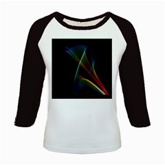 Abstract Rainbow Lily, Colorful Mystical Flower  Kids Long Cap Sleeve T-Shirt