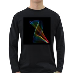 Abstract Rainbow Lily, Colorful Mystical Flower  Men s Long Sleeve T-shirt (Dark Colored)