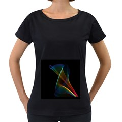 Abstract Rainbow Lily, Colorful Mystical Flower  Women s Loose-Fit T-Shirt (Black)