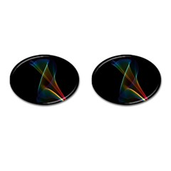 Abstract Rainbow Lily, Colorful Mystical Flower  Cufflinks (Oval)