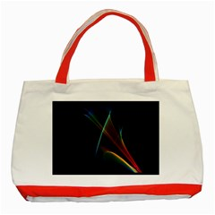 Abstract Rainbow Lily, Colorful Mystical Flower  Classic Tote Bag (Red)