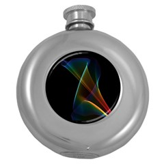 Abstract Rainbow Lily, Colorful Mystical Flower  Hip Flask (Round)