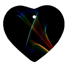 Abstract Rainbow Lily, Colorful Mystical Flower  Heart Ornament (two Sides)