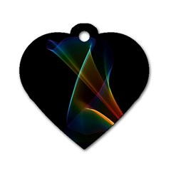 Abstract Rainbow Lily, Colorful Mystical Flower  Dog Tag Heart (Two Sided)