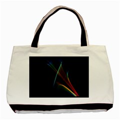 Abstract Rainbow Lily, Colorful Mystical Flower  Twin-sided Black Tote Bag