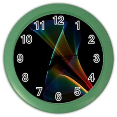 Abstract Rainbow Lily, Colorful Mystical Flower  Wall Clock (Color)