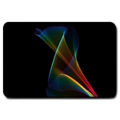 Abstract Rainbow Lily, Colorful Mystical Flower  Large Door Mat