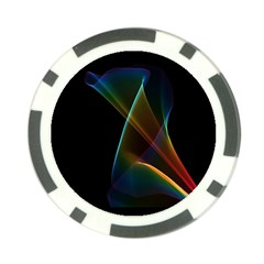 Abstract Rainbow Lily, Colorful Mystical Flower  Poker Chip