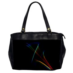 Abstract Rainbow Lily, Colorful Mystical Flower  Oversize Office Handbag (One Side)