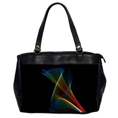 Abstract Rainbow Lily, Colorful Mystical Flower  Oversize Office Handbag (Two Sides)