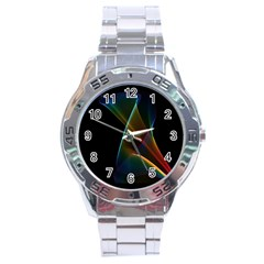Abstract Rainbow Lily, Colorful Mystical Flower  Stainless Steel Watch