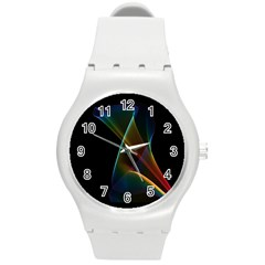 Abstract Rainbow Lily, Colorful Mystical Flower  Plastic Sport Watch (Medium)