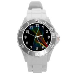 Abstract Rainbow Lily, Colorful Mystical Flower  Plastic Sport Watch (Large)