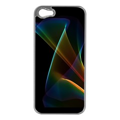 Abstract Rainbow Lily, Colorful Mystical Flower  Apple iPhone 5 Case (Silver)