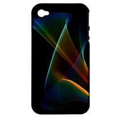 Abstract Rainbow Lily, Colorful Mystical Flower  Apple iPhone 4/4S Hardshell Case (PC+Silicone)