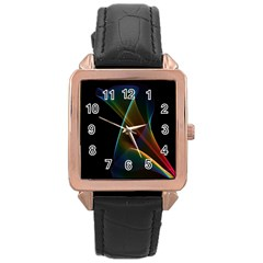 Abstract Rainbow Lily, Colorful Mystical Flower  Rose Gold Leather Watch