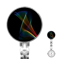 Abstract Rainbow Lily, Colorful Mystical Flower  Stainless Steel Nurses Watch