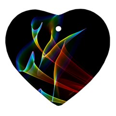 Peacock Symphony, Abstract Rainbow Music Heart Ornament