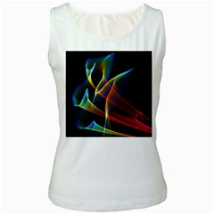 Peacock Symphony, Abstract Rainbow Music Women s Tank Top (White)
