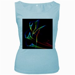 Peacock Symphony, Abstract Rainbow Music Women s Tank Top (Baby Blue)