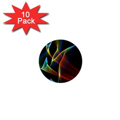 Peacock Symphony, Abstract Rainbow Music 1  Mini Button (10 pack)