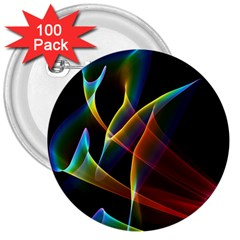 Peacock Symphony, Abstract Rainbow Music 3  Button (100 Pack)