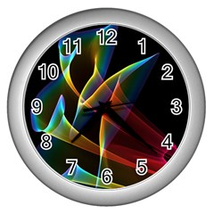 Peacock Symphony, Abstract Rainbow Music Wall Clock (silver)