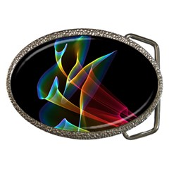 Peacock Symphony, Abstract Rainbow Music Belt Buckle (oval)