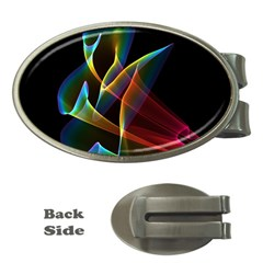 Peacock Symphony, Abstract Rainbow Music Money Clip (Oval)