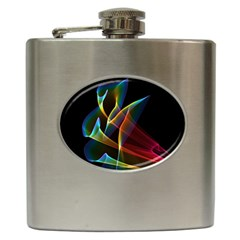 Peacock Symphony, Abstract Rainbow Music Hip Flask