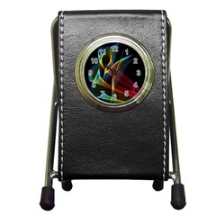 Peacock Symphony, Abstract Rainbow Music Stationery Holder Clock