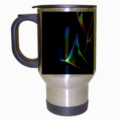Peacock Symphony, Abstract Rainbow Music Travel Mug (Silver Gray)