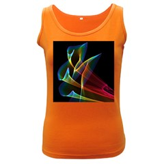 Peacock Symphony, Abstract Rainbow Music Women s Tank Top (Dark Colored)