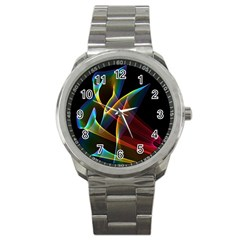 Peacock Symphony, Abstract Rainbow Music Sport Metal Watch