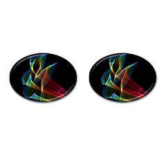 Peacock Symphony, Abstract Rainbow Music Cufflinks (Oval)