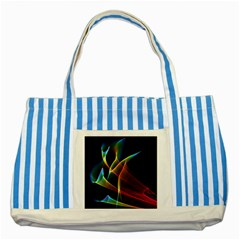 Peacock Symphony, Abstract Rainbow Music Blue Striped Tote Bag