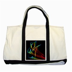 Peacock Symphony, Abstract Rainbow Music Two Toned Tote Bag