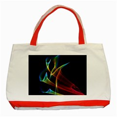 Peacock Symphony, Abstract Rainbow Music Classic Tote Bag (Red)