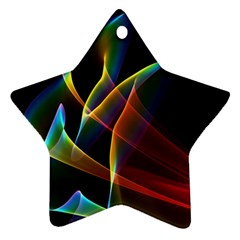 Peacock Symphony, Abstract Rainbow Music Star Ornament (Two Sides)