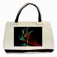 Peacock Symphony, Abstract Rainbow Music Twin-sided Black Tote Bag