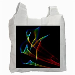 Peacock Symphony, Abstract Rainbow Music White Reusable Bag (One Side)