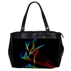 Peacock Symphony, Abstract Rainbow Music Oversize Office Handbag (One Side)